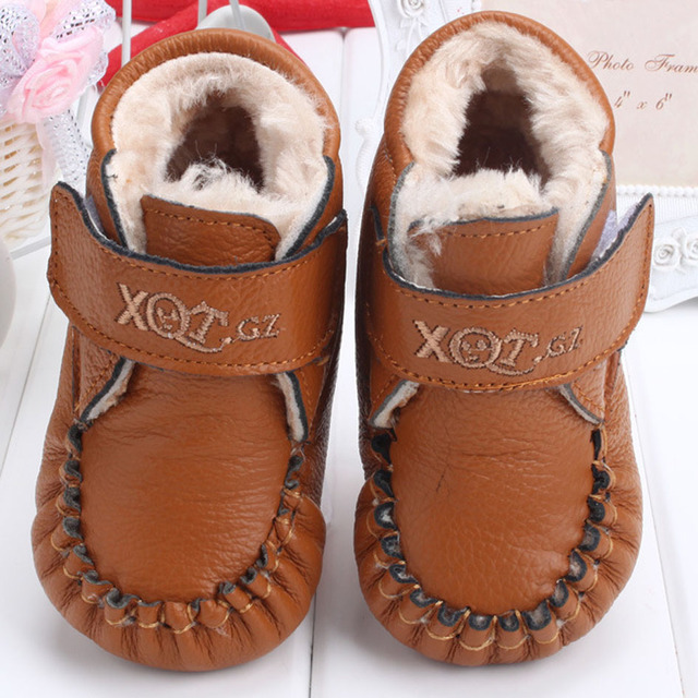 2015 Winter Plush Fur Baby Leather Shoes Hook&loop Infant Winter Warm Shoes Baby Girls First walkers Leather Creepers Shoes