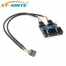 цены на 9pin USB header Male 1 to 4 Female Extension Cable Desktop Card HUB USB 2.0 Extender 1 to 2 Connector Adapter Port Multilier  в интернет-магазинах
