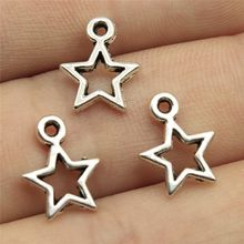 Pendenti E Ciondoli Hollow Star Fai da Te Risultati Dei Monili 50 Pz/lotto Argento Antico Placcato 0.5 Pollici (12 Mm) Hollow Star Pendenti E Ciondoli(China)