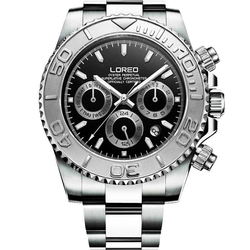 200 メートル防水ダイビング腕時計男性自己風 LOREO 高級ブランド多機能機械式時計サファイア夜光時計