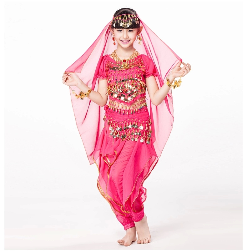 Children Indian Dance 5-piece Set Costume Top, Belt, Pants and Head Pieces Coin Bracelets Bollywood Dance Costumes for Kids