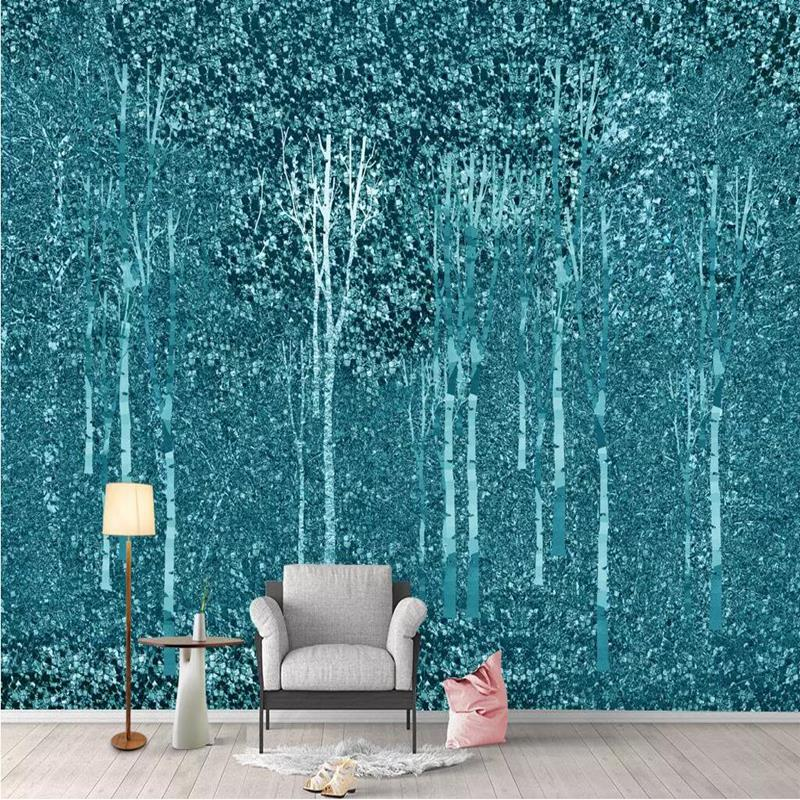 Wall Decor Blue Wallpaper for Living Room Modern Custom 3 d Wall Murals Living Room Bedroom Desktop Abstract Forest Wallpaper sun forest print tapestry wall hanging decor
