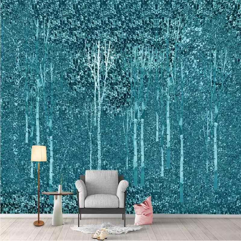 Wall Decor Blue Wallpaper For Living Room Modern Custom 3 D Wall Murals Living Room Bedroom Desktop Abstract Forest Wallpaper