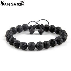 Image 3 - New Design Black Volcanic Stone Beads Bracelet Woman Men Lava Healing Balance Reiki Prayer adjustable bracelet