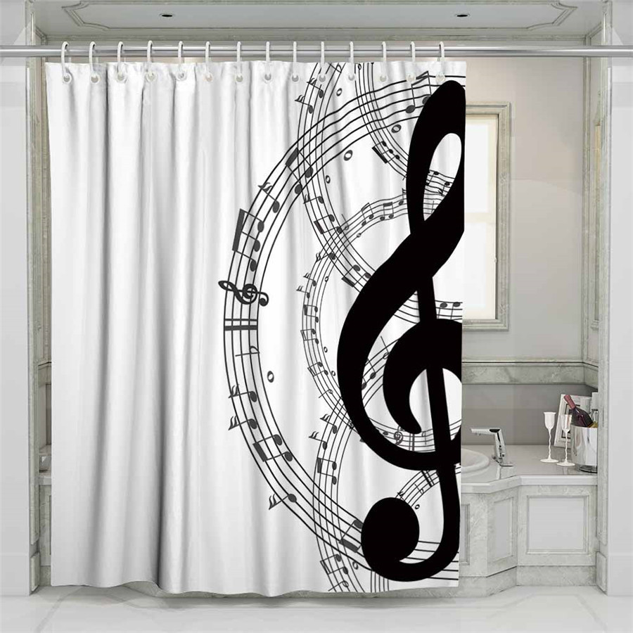 3D Musical Note Beach Shower Curtain Bathroom Waterproof Polyester Printing Curtains for Bathroom Shower in Shower Curtains from Home Garden