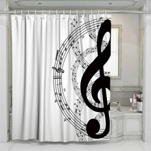 3D Musical Note Beach Shower Curtain Bathroom Waterproof Polyester Printing Curtains for