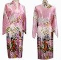 Бесплатная доставка розовые дамы шелковый район кимоно одеяние платье цветок L XL XXL XXXL S0018