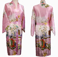 Free Shipping Pink Ladies Silk Rayon Kimono Robe Gown Flower S M L XL XXL XXXL S0018