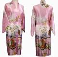 Free Shipping Pink Ladies Silk Rayon Kimono Robe Gown Flower S M L XL XXL XXXL S0018