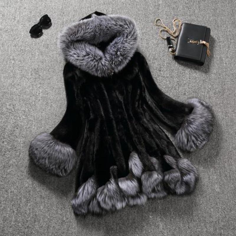 2019 Winter Jacket Women Faux Fox Fur Hooded Slim Women Jacket Plus Size 6XL Faux Mink Fur Winter Coat Women Parka Female JZ004