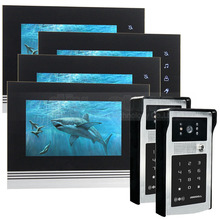 DIYSECUR 7 inch Touch Button Video Door Phone Intercom Doorbell IR Night Vision HD 300000 Pixels RFID Keypad Camera 2V4