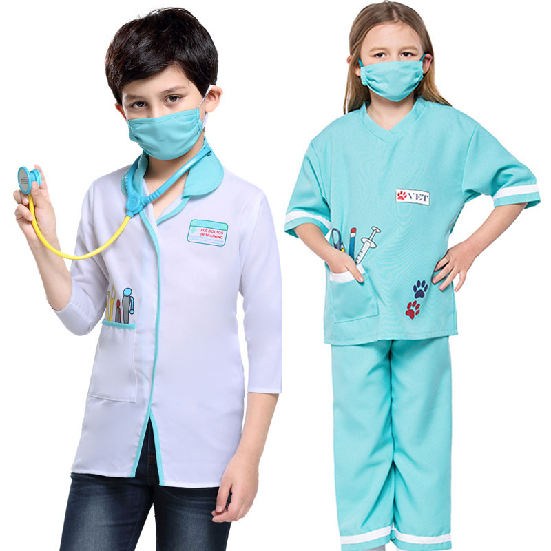 Umorden Carnival Party Halloween Vet Doctor Costume Kids Child Doctor Cosplay Suit for Boy Girl with Stethoscope