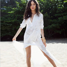 9ae6000d76 SAVOIL Women White Maxi Dress Summer Beach Swimsuit Cover Ups Long Sleeve  Sexy Silk