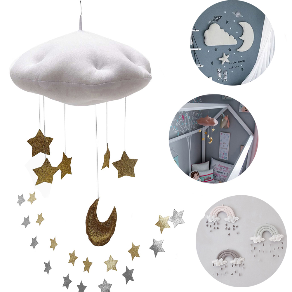 Catoon Children House Party Hang Decorations Baby Crib Netting Hangings Accessories Cloud Star Raindrop Play Tents Decor