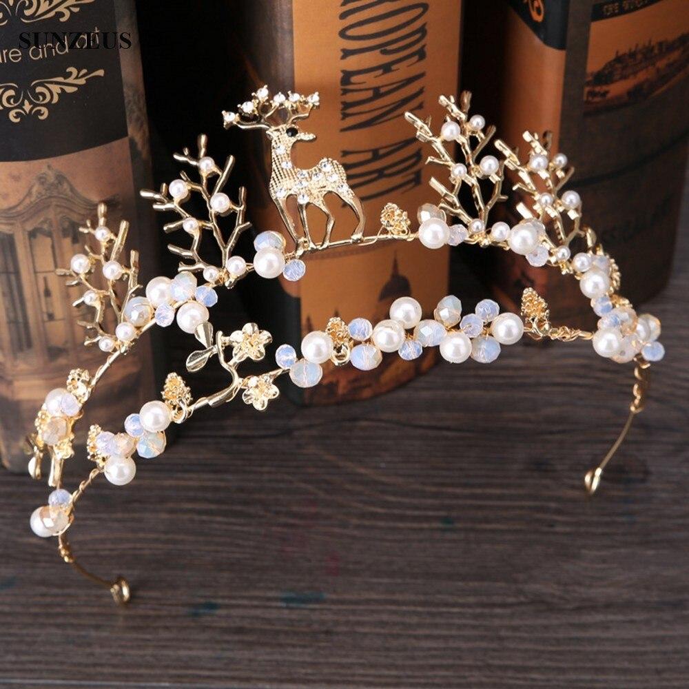 2020 Vinatge Gold Bridal Crown With Pearls Flowers Branches Deer Headband Wedding Hair Accessories Crown SQ0144