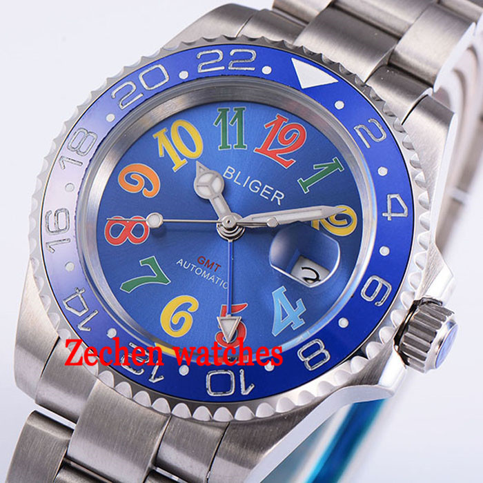 40mm Bliger Date Day blue Sapphire GMT Automatic Mechanical Luminous Mens Watch цена и фото