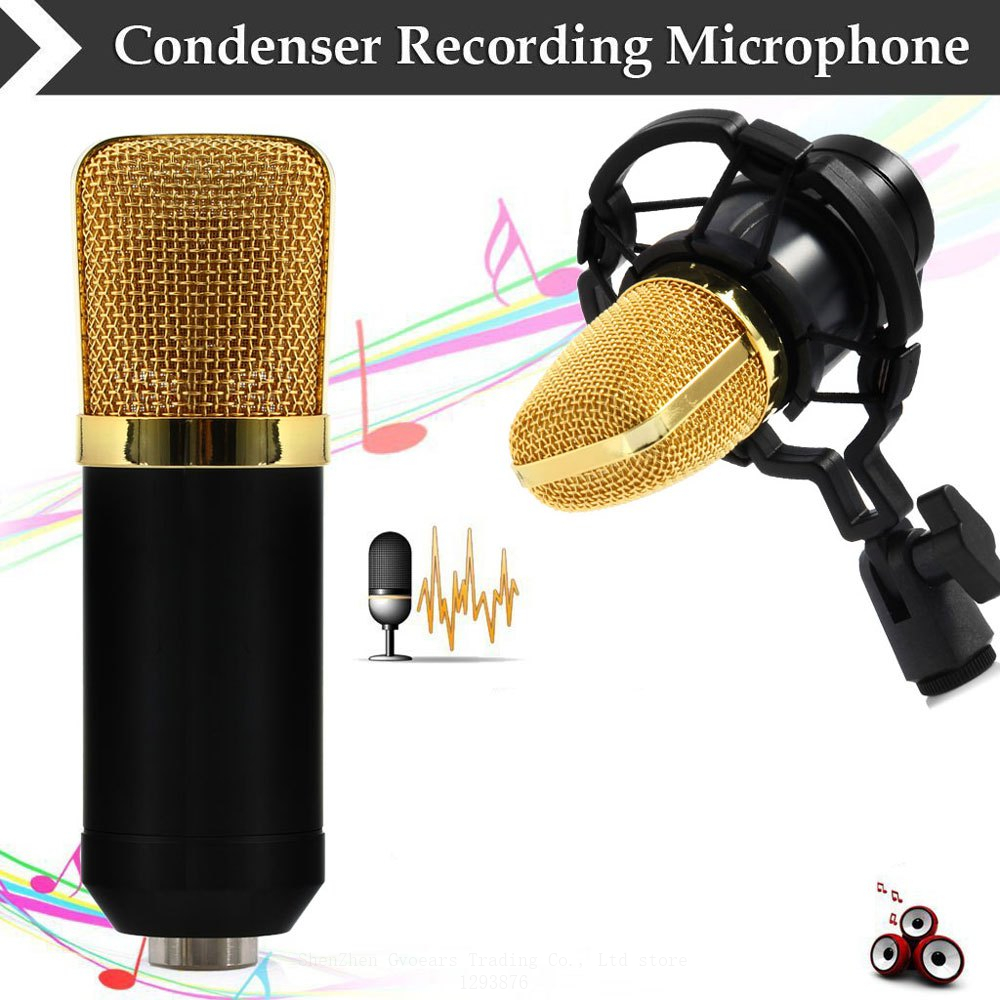 GEVO BM-700 Professional Wired 3.5mm Condenser Microphone BM 700 NB-35 Microphone Stand Adjustable For Computer Sound Recording 3