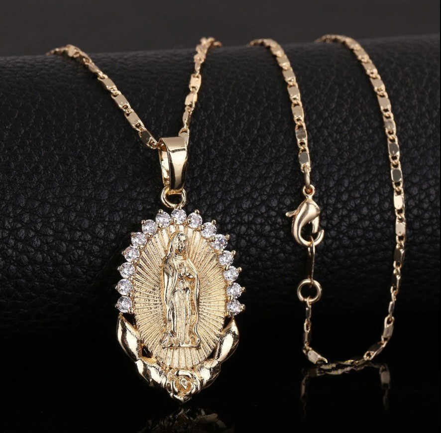 Holy Virgin Mary Pendant Necklace Religion Dainty Golden Christian Cubic Zircon Necklace Women Collier Femme Christian Jewelry