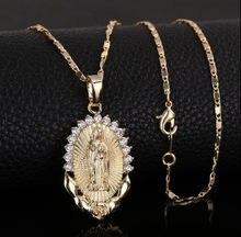 Colar de zircão cúbico feminino collier femme jóias cristãs santa virgem maria pingente colar religião delicado ouro cristão