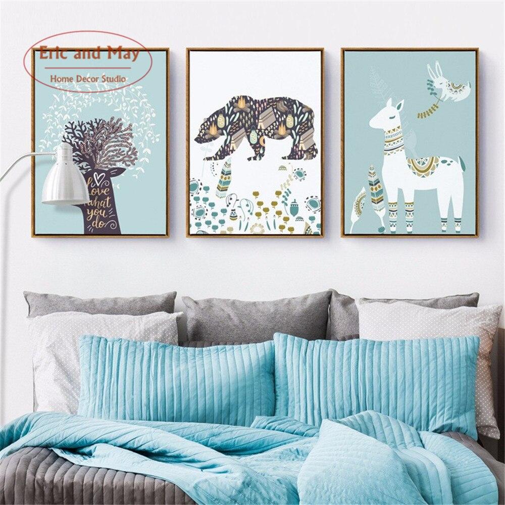 Vivero Deer Bear alpaca lienzo impresión del arte pintura cartel ...