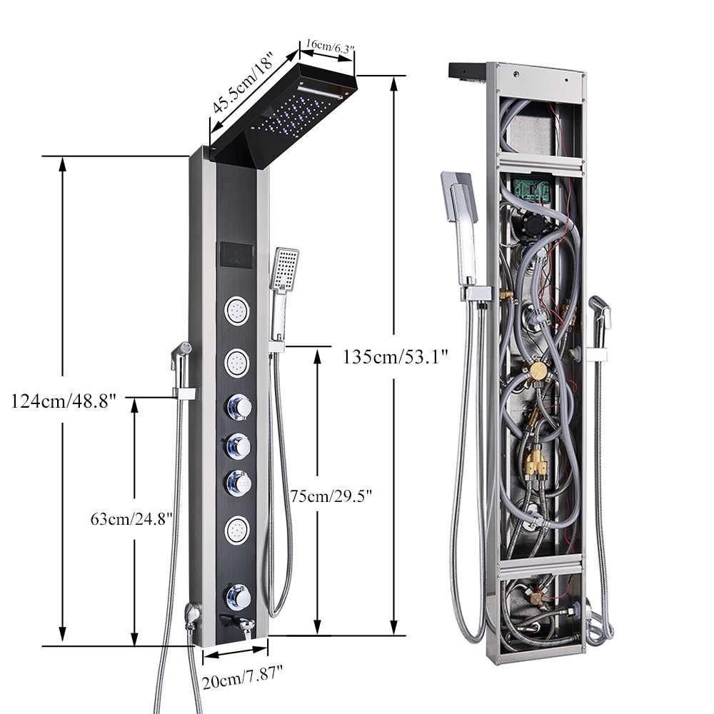 Luksusowy Panel prysznicowy LED Light łazienka z wanną kolumna prysznicowa wieża cyfrowy ekran wodospad deszczownica miksery obróć dysze do masażu