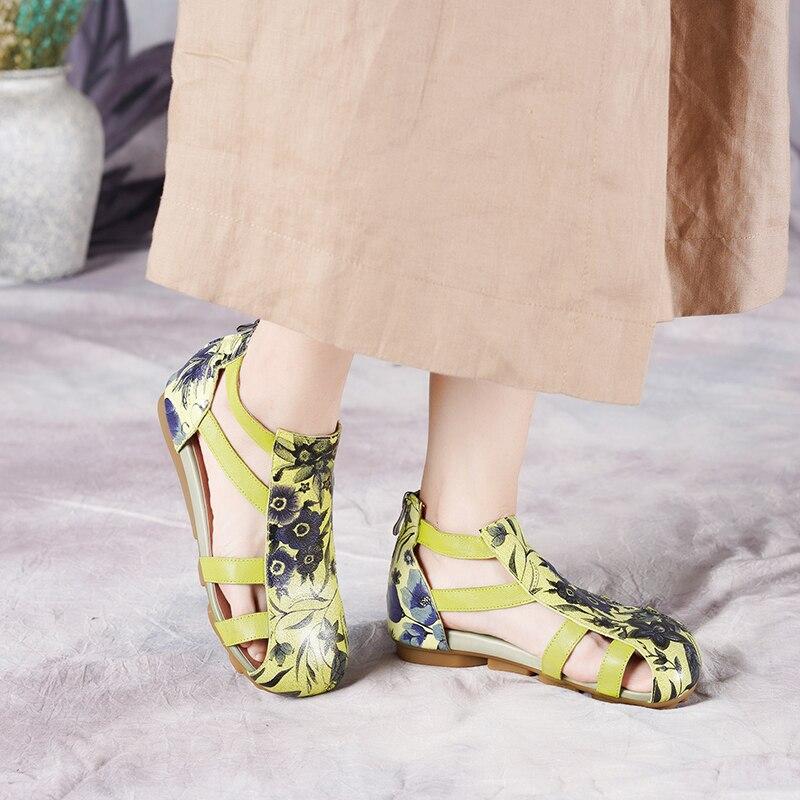 2019 VALLU frauen Flache Sandalen für Sommer Echtem Leder Handgemachte Blumen Ankle Strap Abdeckung Zehen Dame Schuhe Sandalen-in Damensandalen aus Schuhe bei  Gruppe 2