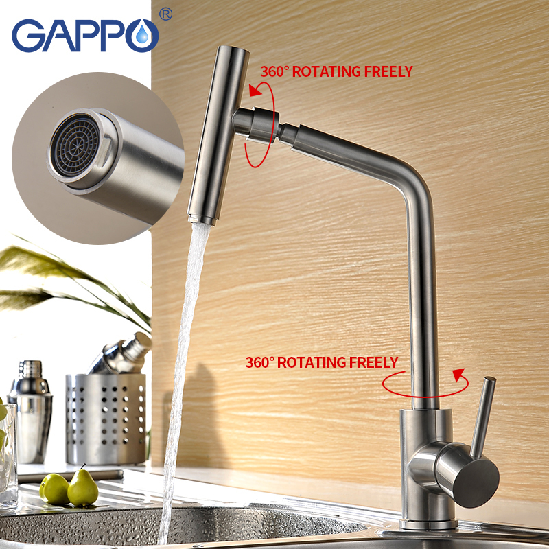 GAPPO Kitchen Faucet Single Handle 360 Degree Swivel Spout 304 Stainless Steel Kitchen Tap Mixer Kitchen Mixer Faucets Waterfall