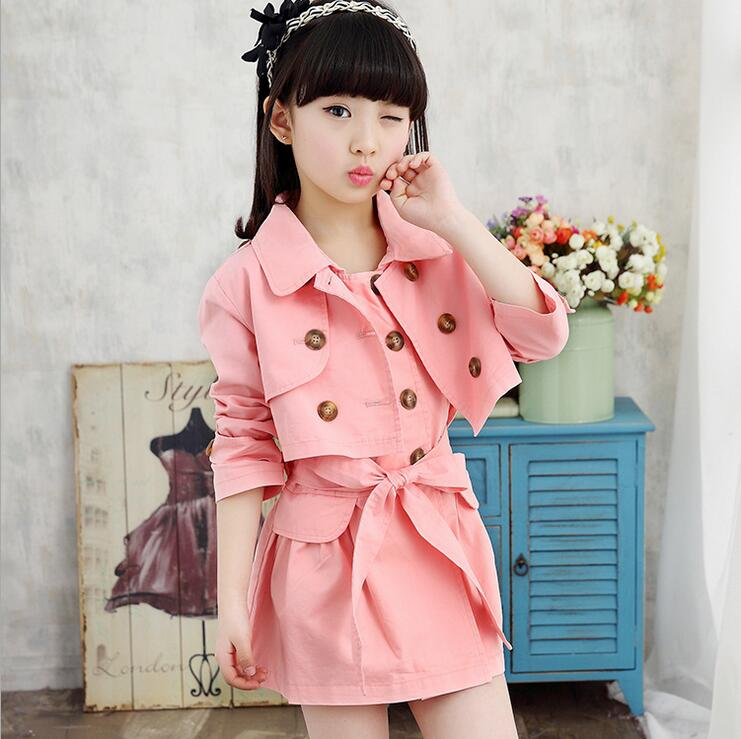 Solid Color Children 's Clothing Sets Of Long - sleeved Double Breasted Windbreaker Jacket Ensemble Fille Dress Two - piece Suit children boys spring two suit children in 2016 two sets of new long sleeved sweater leisure tide