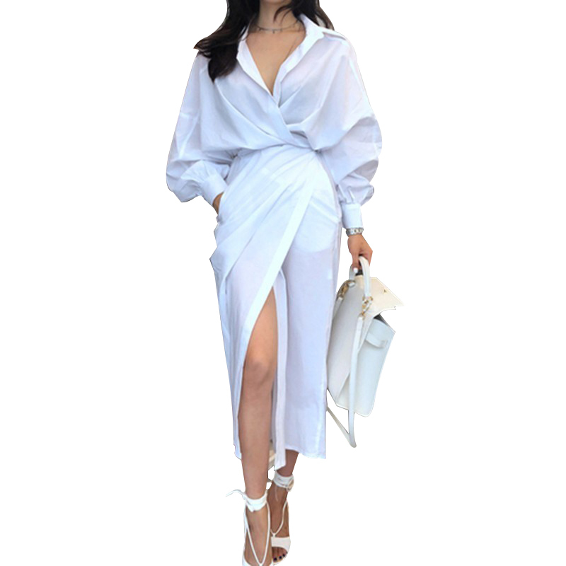 CHICEVER Solid High Waist Lace Up Dress For Women Hem Split Lantern Sleeve Slim Summer Dresses Female Clothes Fashion Korean New 19