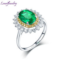 Loverjewelry Real Diamond Wedding Jewelry Solid 14Kt White Gold Genuine Oval Shape Emerald Promised Rings For