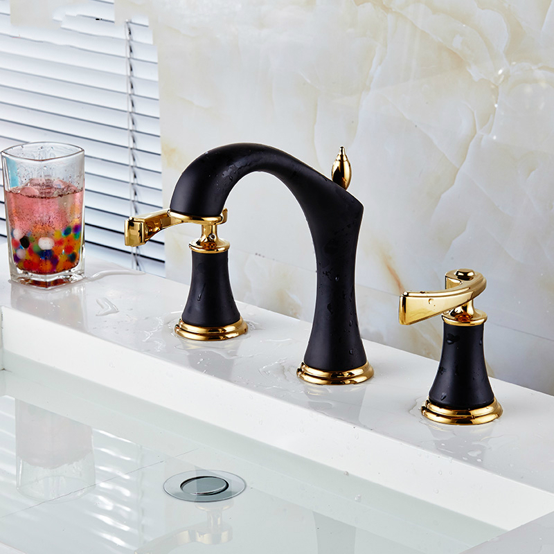 Modern Brass Titanium Gold Split Three Leading 8 Inch Split Double Wash Basin Tap Basin Faucet Mounting Bathroom Products Sd37