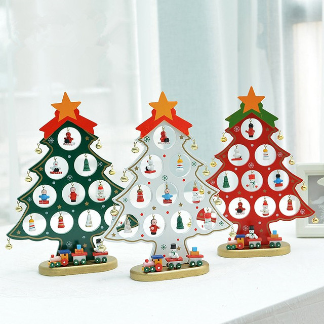 Xmas Gift 1pc Mini Table Trees Decoration Wood Christmas Tree With Ornament For X