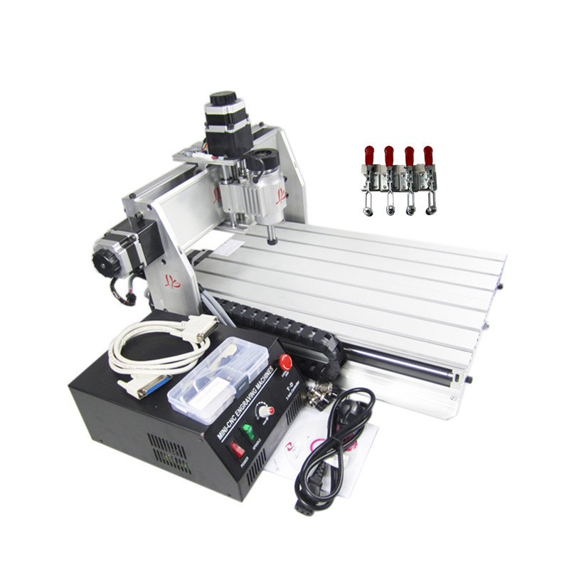 Russia no tax !Hot selling CNC 3040Z-DQ 4axis router engraving machine with aluminum clamp plate russia tax free cnc woodworking carving machine 4 axis cnc router 3040 z s with limit switch 1500w spindle for aluminum