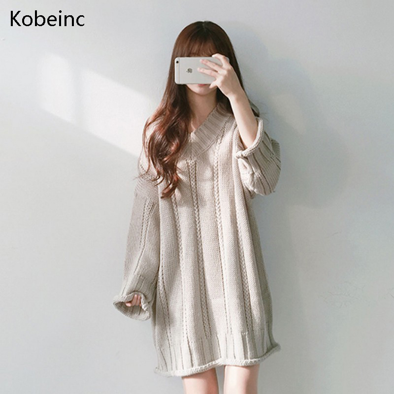 Kobeinc Women Knitted Dress Winter Thicken Long Sweater Pullover Fashion Crimping Full Sleeve Sueter Vestidos Loose Korean Style hot sell winter warm knitted cap camouflage cotton fashion skullies thicken skullies beanies hats for women 2 style 8409