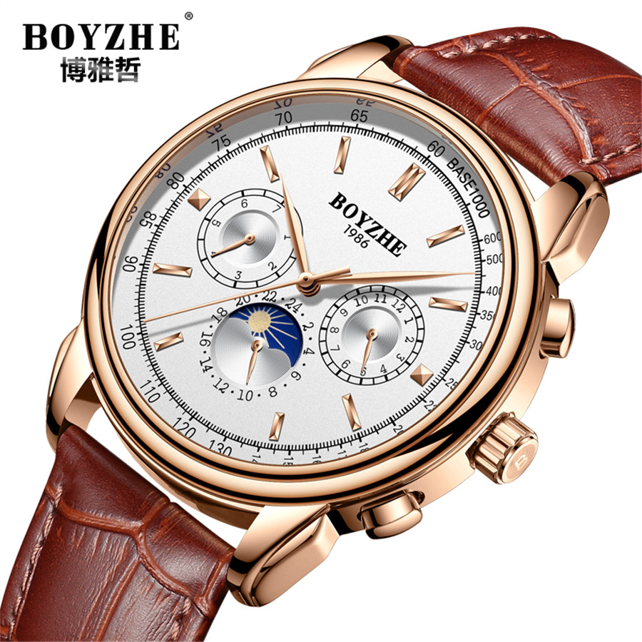 2018 Top Luxury Brand Men Automatic Mechanical Watch Leather Mens Watches Sports Military Wrist Watches Waterproof Male Clock mce sports mens watches top brand luxury genuine leather automatic mechanical men watch classic male clocks high quality watch