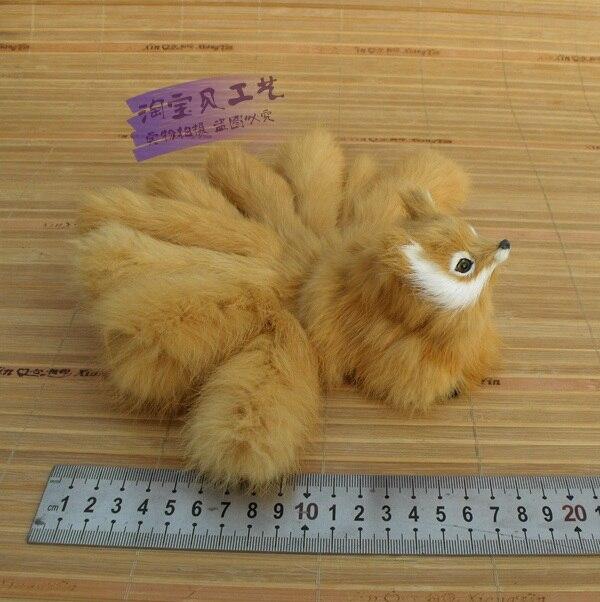 Nuova simulazione piccola volpe giocattolo bello giallo nove code di volpe regalo bambola circa 20x8 cm