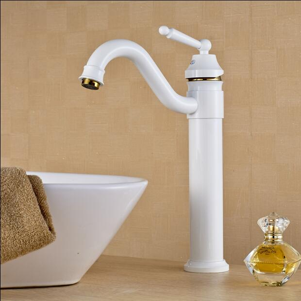 Free Shipping White and Gold Basin faucet Brass Swivel Sinks Faucet new arrivals 360 degree rotating