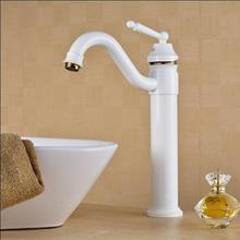Free Shipping White and Gold Basin faucet Brass Swivel Sinks Faucet new arrivals 360 degree rotating Kitchen faucet
