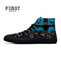 PRIMO BALLO di Halloween Casual High Top Blu Scarpe di Tela Classiche gli uomini di Nizza di Modo Zucca 3D Black Stampato Scarpe A Punta Uomini Sneakers