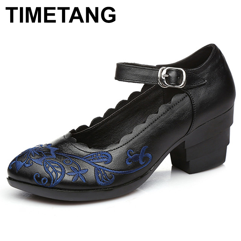 TIMETANG New Autumn Shoes Woman Genuine Leather Women Pumps Lady Pointed Toe Thick Heel Shallow Mouth Shoes Embroider timetang new women flats women genuine leather shoes flat maternity bind the shallow mouth for women s shoes