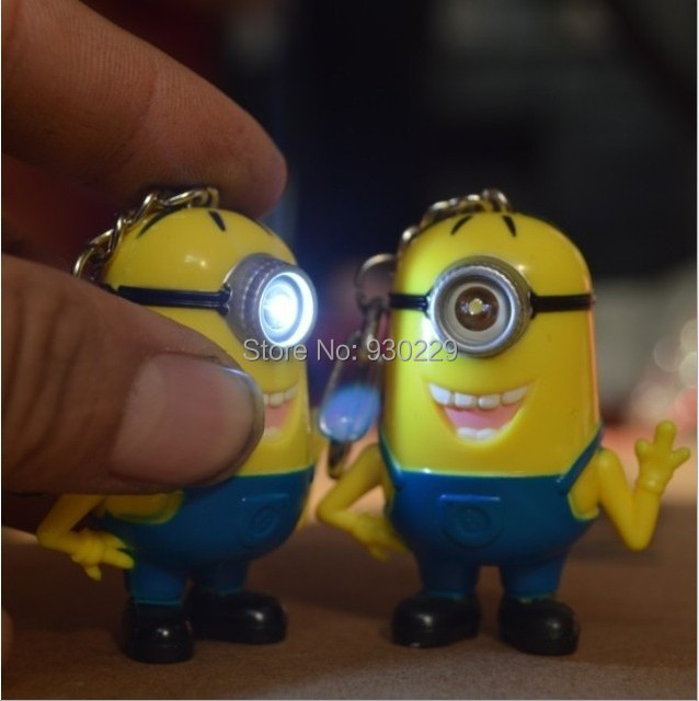 Hot selling <font><b>Despicable</b></font> <font><b>me</b></font> 3 <font><b>LED</b></font> <font><b>Keychain</b></font> talk <font><b>minions</b></font> ,flashlight keyrings with sound,gift for lovers