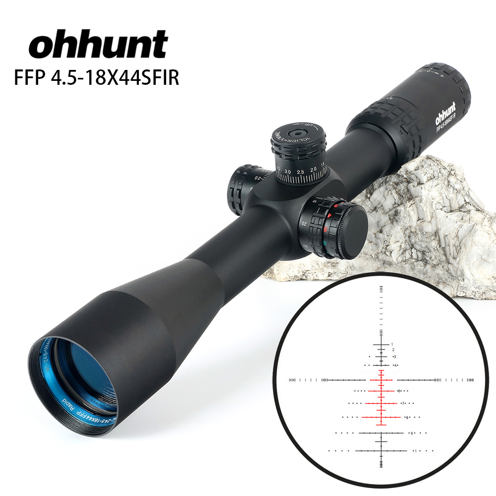 ohhunt FFP 4.5-18X44 SFIR First Focal Plane Hunting Optical Riflescopes Side Parallax R/G Glass Etched Reticle Lock Reset Scope купить недорого в Москве
