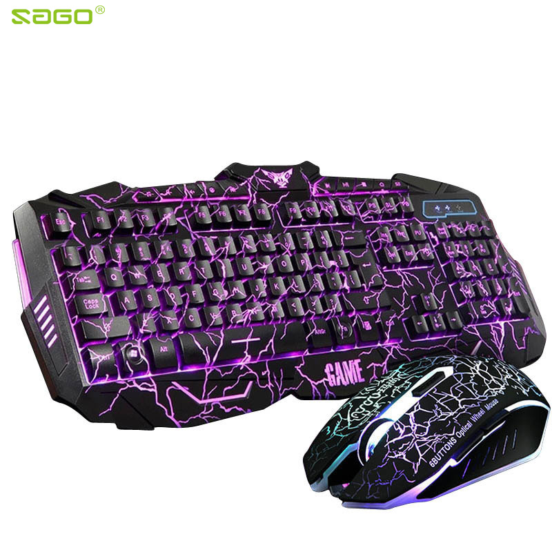 Image 2 - Russian Keyboard Changeable LED with Color Luminous Backlit Multimedia Ergonomic Gaming Keyboard and Mouse Set for Game computer-in Keyboard Mouse Combos from Computer & Office