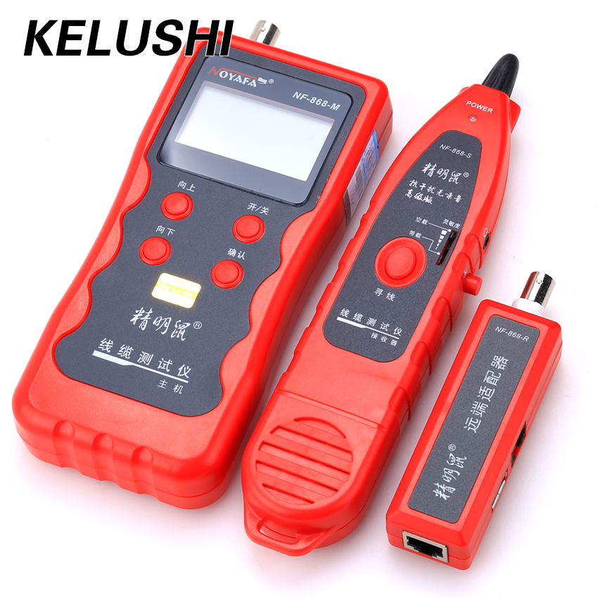 KELUSHI NF-868 RJ11 RJ45 Diagnose Tone BNC USB Metal Line Telephone Wire Tracker Network Tools LAN Network Cable Lenght Tester bnc female to rj45 network testing cable black
