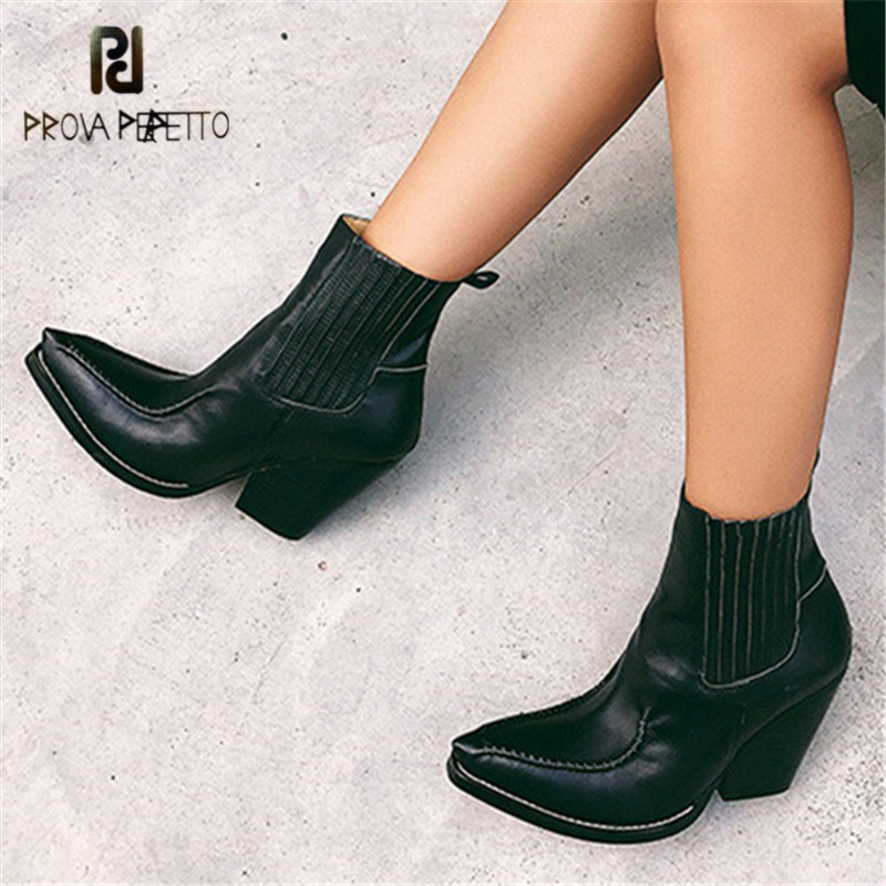 Prova Perfetto Sexy Ankle Boots for Women Genuine Leather 8CM High Heel Botas Mujer Platform Wedge Shoes Woman Chelsea BootsProva Perfetto Sexy Ankle Boots for Women Genuine Leather 8CM High Heel Botas Mujer Platform Wedge Shoes Woman Chelsea Boots