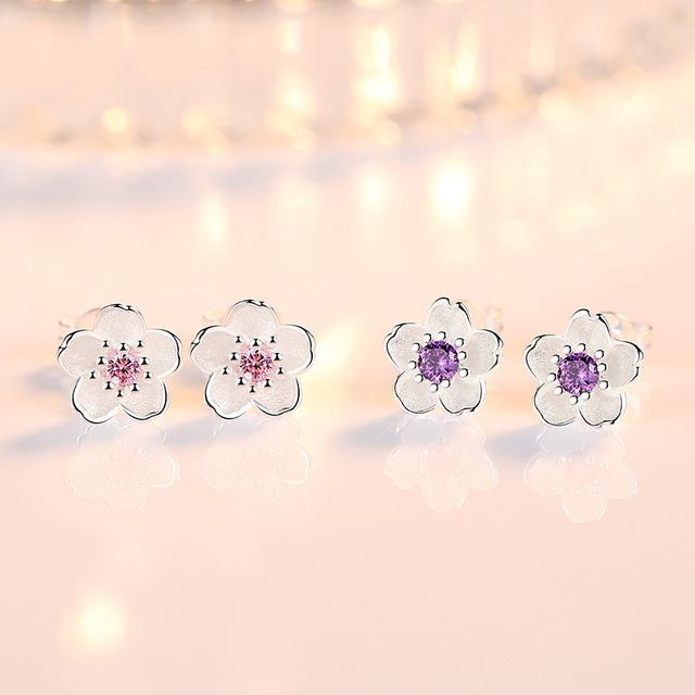100% 925 sterling silver fashion Cherry blossoms flower crystal ladies`cute stud earrings women jewelry birthday gift cheap 4