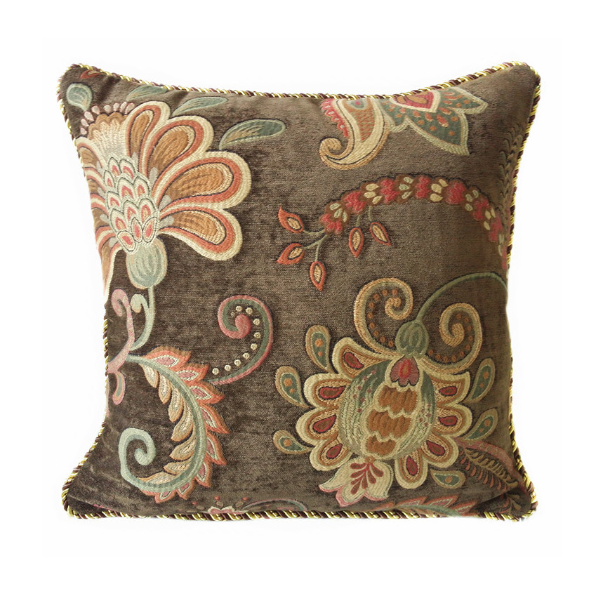 Deluxe High Quality Soft Brown Floral Jacquard Woven Chenille Pillow Case Decorative Cushion Cover 45x45 cm Rope Pipping Pillows