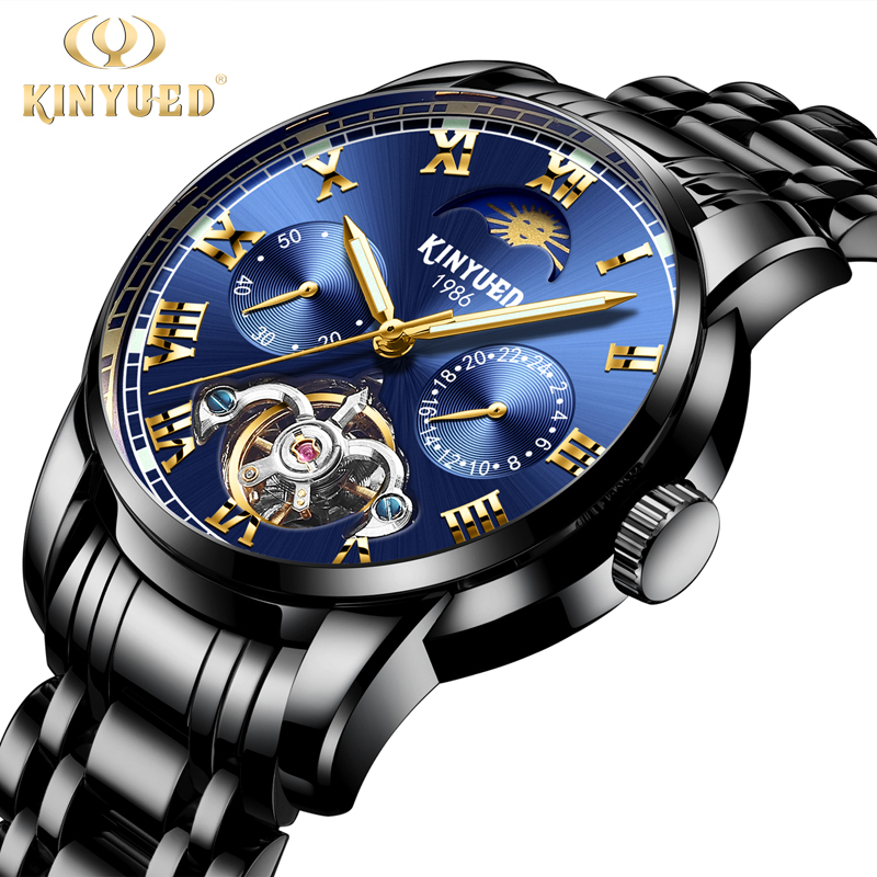 KINYUED Fashion Business Men Watch Automatic Perpetual Calendar WristWatch Mens Mechanical Luminous Watches Luxury reloj hombre mhc2 10d angular style double acting air gripper standard type smc type pneumatic finger cylinder