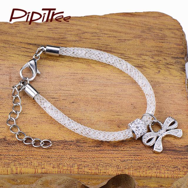 Bow White Mesh Charm Bracelet