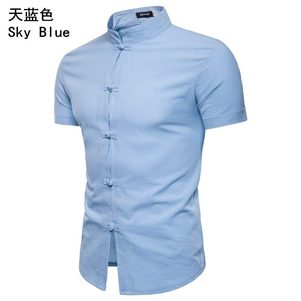 Casual Shirt Men 39 s Clothing Button design Chinese style Summer Short sleeved Linen Solid color Blouse Men Shirt Stand collar in Casual Shirts from Men 39 s Clothing